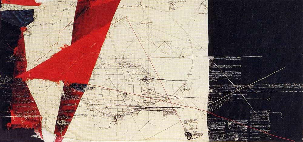 Mondo incandescente. Collage di stoffe e filo, 1988. maria lai
