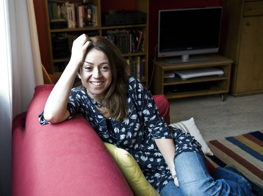 "Claudia De Lillo alias Elasti, journalist and writer, author of the blog:""nonsolomamma"" in her house in Milan"