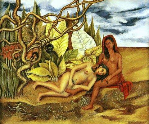 frida kahlo due nudi nella foresta