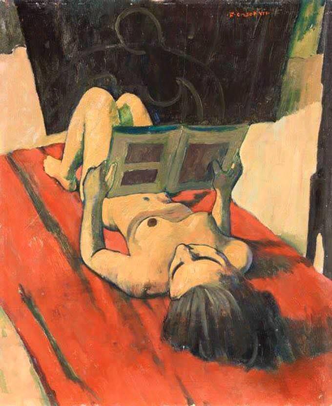 felice casorati nudo disteso che legge