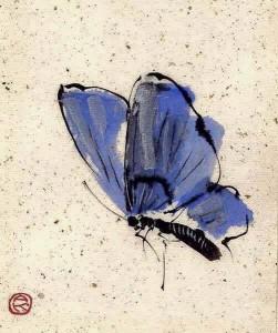 dipinto a china autore sconosciuto farfalla
