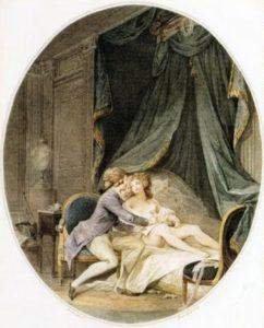 Valmont écrit à Mme de Tourvel entre les bras d'Émilie - Lavreince cctm caracas amore relazioni pericolose narcisista perverso amore sesso libertino