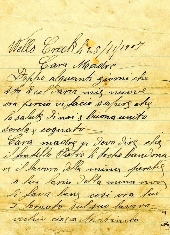 wells creek lettere emigranti belluno madre cctm caracas