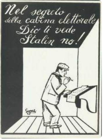 giovannino guareschi elezioni voto votare dio ti vede stalin no don camillo peppone cctm caracas