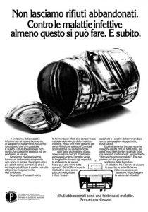 pubblicità progresso contro riofiuti abbandonati 1975 italia cctm caracas latino america
