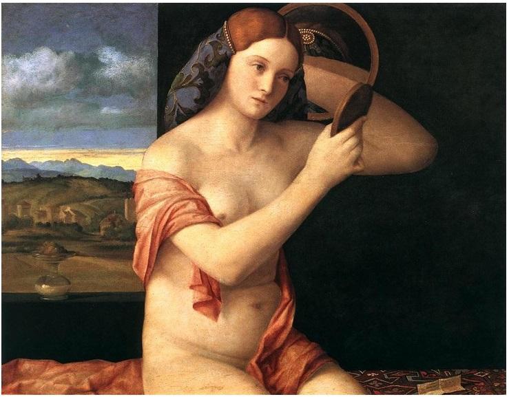 Giovanni Bellini giovane donna nuda allo specchio poesia latino america italia rinascimento vienna cctm arte pittura amore cultura