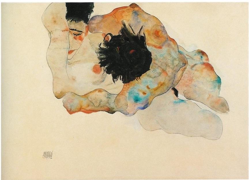 egon schiele abbraccio 1912 cctm erotico arte eros